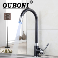3 Colors LED Light Polished Chrome Swivel Kitchen Faucets Cozinha Torneira Deck Mounted Single Hole Bathroom