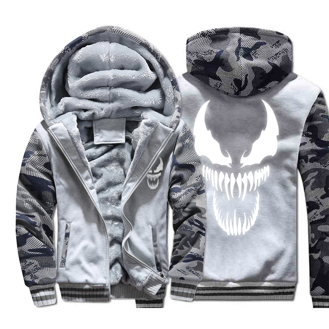 Venom Hoodies Men Movie Night Glow Hooded Sweatshirts Harajuku Coat Winter Thick Fleece Jacket Cool Noctilucent Streetwear