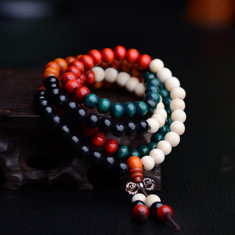 New Beaded Bracelets 8mm Rosewood Beads 108 Buddha Bracelets Men Women Long Bangle Religion Gift Tibet Jewelry Drop Shipping