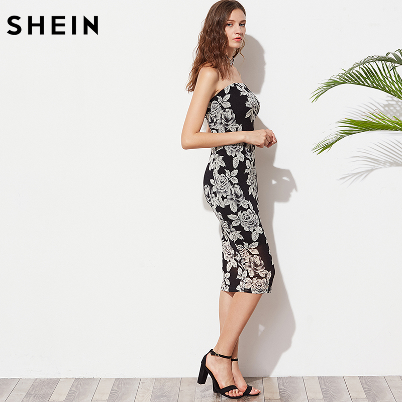 529544f8d5 SHEIN Women Summer Black Flower Print Bandeau Midi Dress Sexy Club Dress  2017 Strapless Sleeveless Elegant Dress-in Dresses from Women's Clothing on  ...