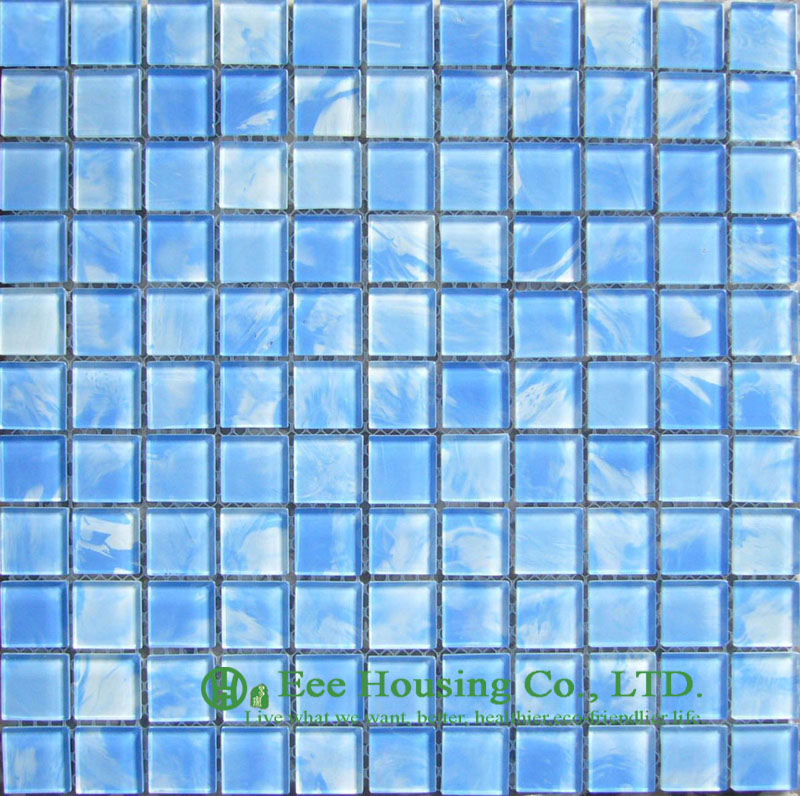 Washable And Durable Crystal  Mosaic Tile For Swimming Pools, Blue Color