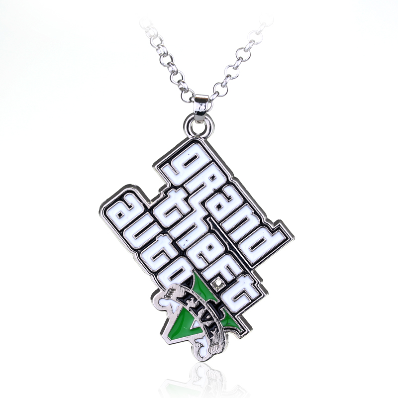 PS4 GTA 5 Game Necklace Hot Sale!Grand Theft Auto 5 Pendant Necklace For Fans Xbox PC Rockstar Christmas Party Jewelry Llaveros