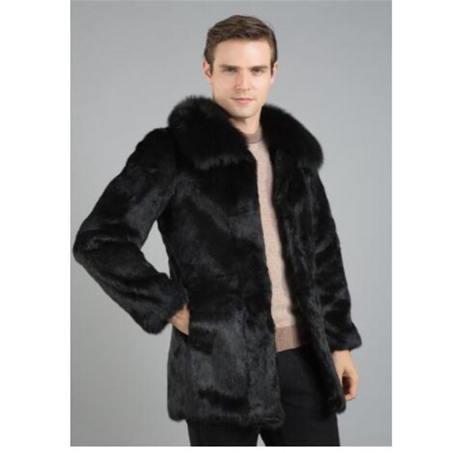 New real genuine natural whole skin rabbit fur coat men fashion full pelt jacket outwear overcoat custom any size
