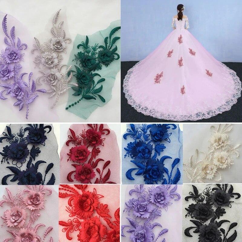 1Pcs 3D Embroidery Flower Lace Applique Sewing Patch For Wedding Dress Veil DIY