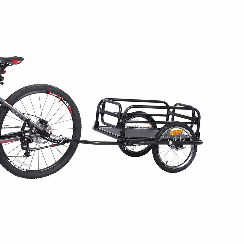 16inch Big Wheel Bicycle Trailer, Large Capacity Foldable Bicycle Cargo Trailer, Air Wheels Wagon For Outdoor Camping