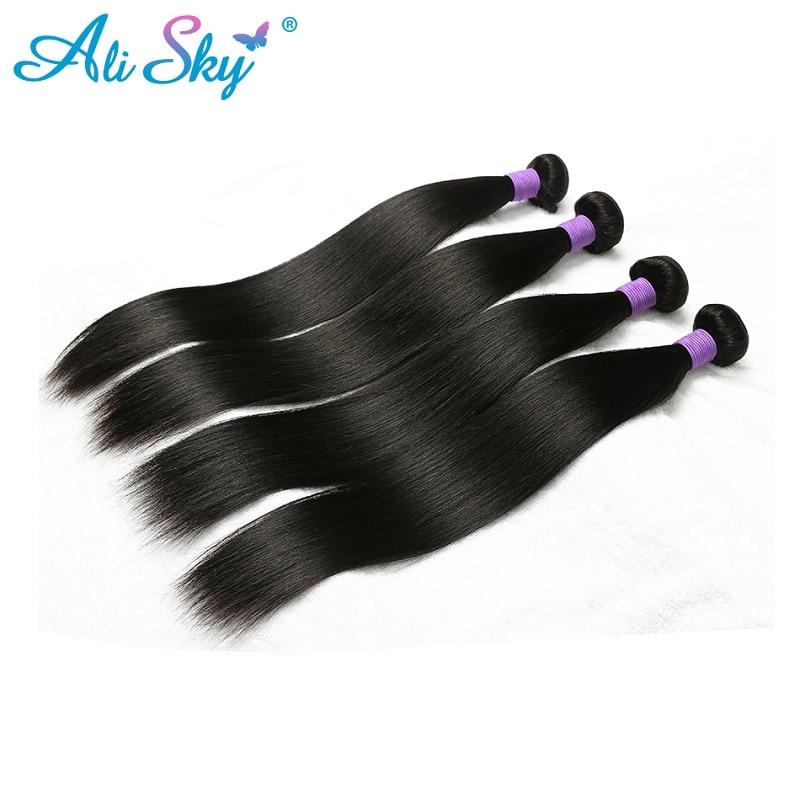 4 bundles Brazilian Straight Hair Ali Sky 100 human hair extensions 8 30 inches no tangle
