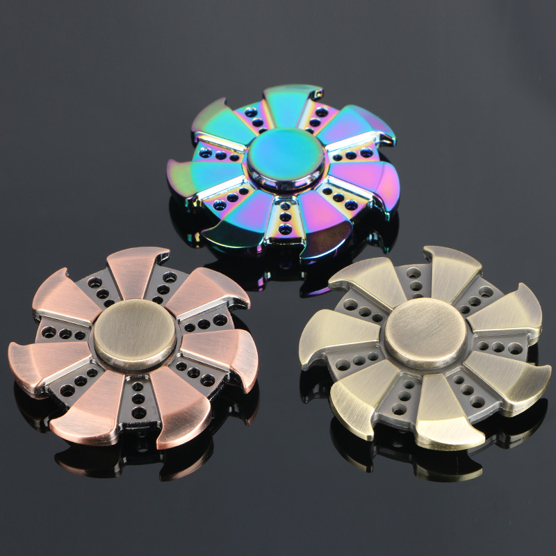 Multicolor circular Tri Hand Spinner Zinc Alloy ADHD Austim Learning Educational Toy Stable Long Time  Nostalgia Cool Gift