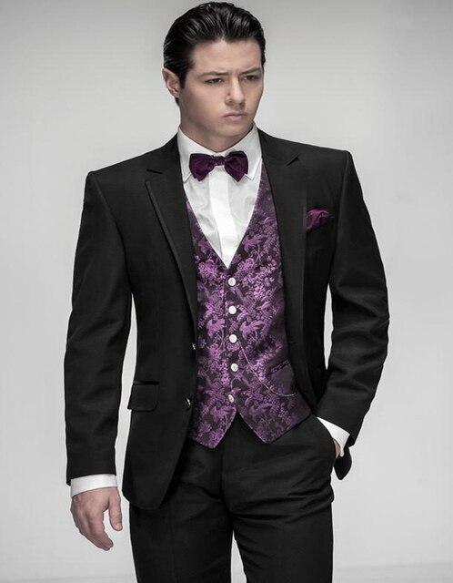2017 Nuevo Diseño A Medida Negro Novio Esmoquin Hombre Traje Formal  Masculino Terno Vestidos de Alta bcafd9a7aca