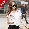 2016 Coreano verão nova camisa chiffon grandes estaleiros de manga curta camisa chiffon blusa Rosa tamanho grande atacado de alta qualidade fashion-25