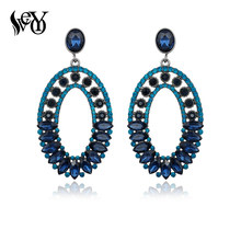 VEYO Big Luxury Crystal Dangle Earrings for Woman Round Vintage Wedding Party Earrings Jewelry Wholesale(China)