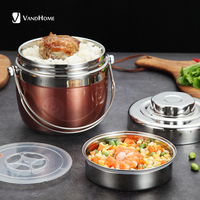 VandHome Vacuum Thermal Lunch Box 304 Stainless Steel Bento Box Portable For Kids School Food Containers Storage Picnic Set