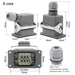 Image 3 - Industrial rectangular heavy duty connector hdc he 4/6/10/16/20/24/32/48 core 16A waterproof aviation plug top and side