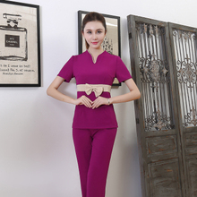 Chinese spa health salon work clothes beautician summer short sleeve suit long pants