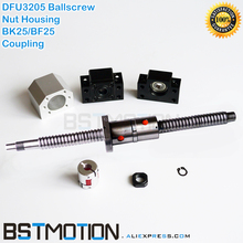3205 כפול Ballscrew 400 500mm 600 700mm 750mm 800 900 1000mm 1100mm 1200mm 1400m 1500mm DFU3205 Ballnut + BK25 BF25 לסת מצמד