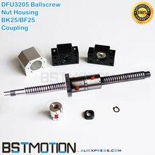 3205 podwójne Ballscrew 400 500mm 600 700mm 750mm 800 900 1000mm 1100mm 1200mm 1400m 1500mm DFU3205 z orzecha włoskiego + BK25 BF25 szczęki łącznik