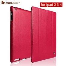 Jisoncase Luxury Smart Case For iPad 4 3 2 Flip Folio Cover Stand Leather Auto Wake Sleep Covers For iPad 2 3 4 Case Funda Capa