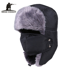 MEGE KNIGHT Brand Russian Bomber Hats Warm Winter Men and Wo