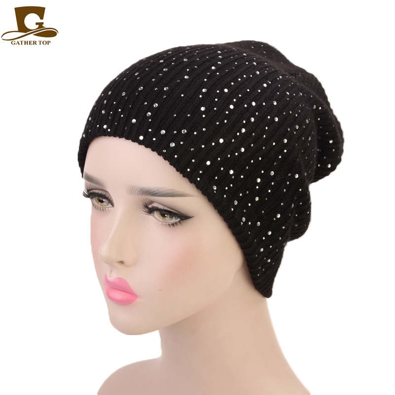 New Rhinestoned Knitted   Skullies     Beanies   Winter Hats Women Knit Hat Winter   Beanies   Thick Warm Caps Female Hats Girls   Beanies