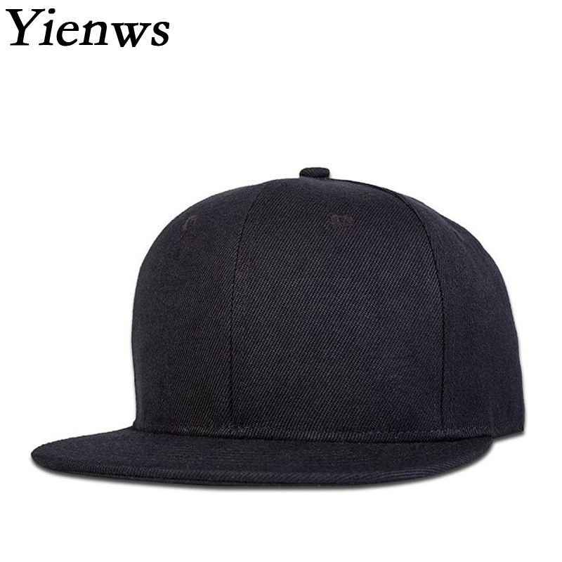 Yienws Solid Black Snapback Baseball Cap For Men Hip Hop Bone Gorras Planas Male Flat Baseball Cap Summer Sun Hat YH390 high quality solid baseball cap with god all things are possible jesus snapback cap for men women hip hop cap dad hat bone