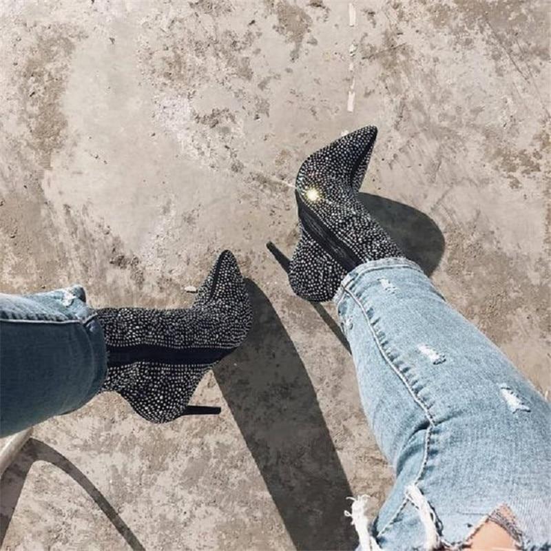 42 Mujeres Sexy Para Tamaño Altos Tacones blanco Más Tobillo De Botas Mujer Zip Negro Moto Estrecha Rhinestones 2019 Punta 35 Las Zapatos vpqdw0apU
