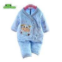 2014 Newborn Baby Set Baby Clothing Set Cotton Autumn Winter Thick Pajamas Cartoon Bear Baby Boy