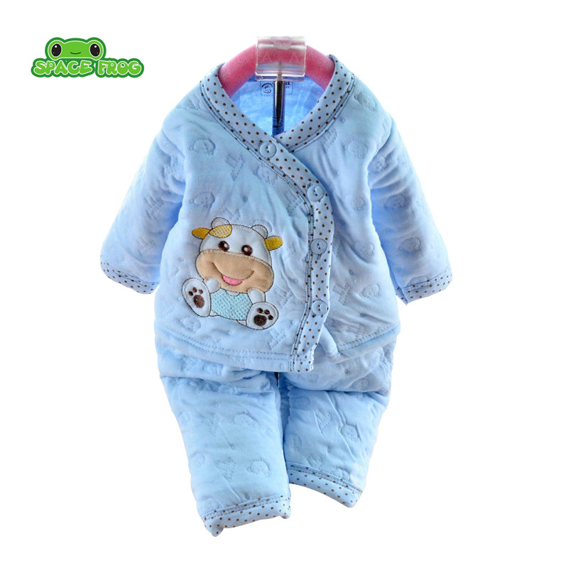 Newborn baby set Baby Clothing Set Cotton Autumn/Winter Thick Pajamas Cartoon Bear Baby Boy/Girl Long Sleeve Underwear long sleeve cartoon bear thick flannel maternity clothing pajamas sets breast feeding home wear nightwear factory price