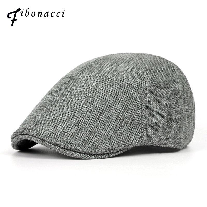 Fibonacci Brand  Flat Cap For Men Women Linen Flatcap Summer Beret Hat British Warm Vintage French Caps And Hat Boina