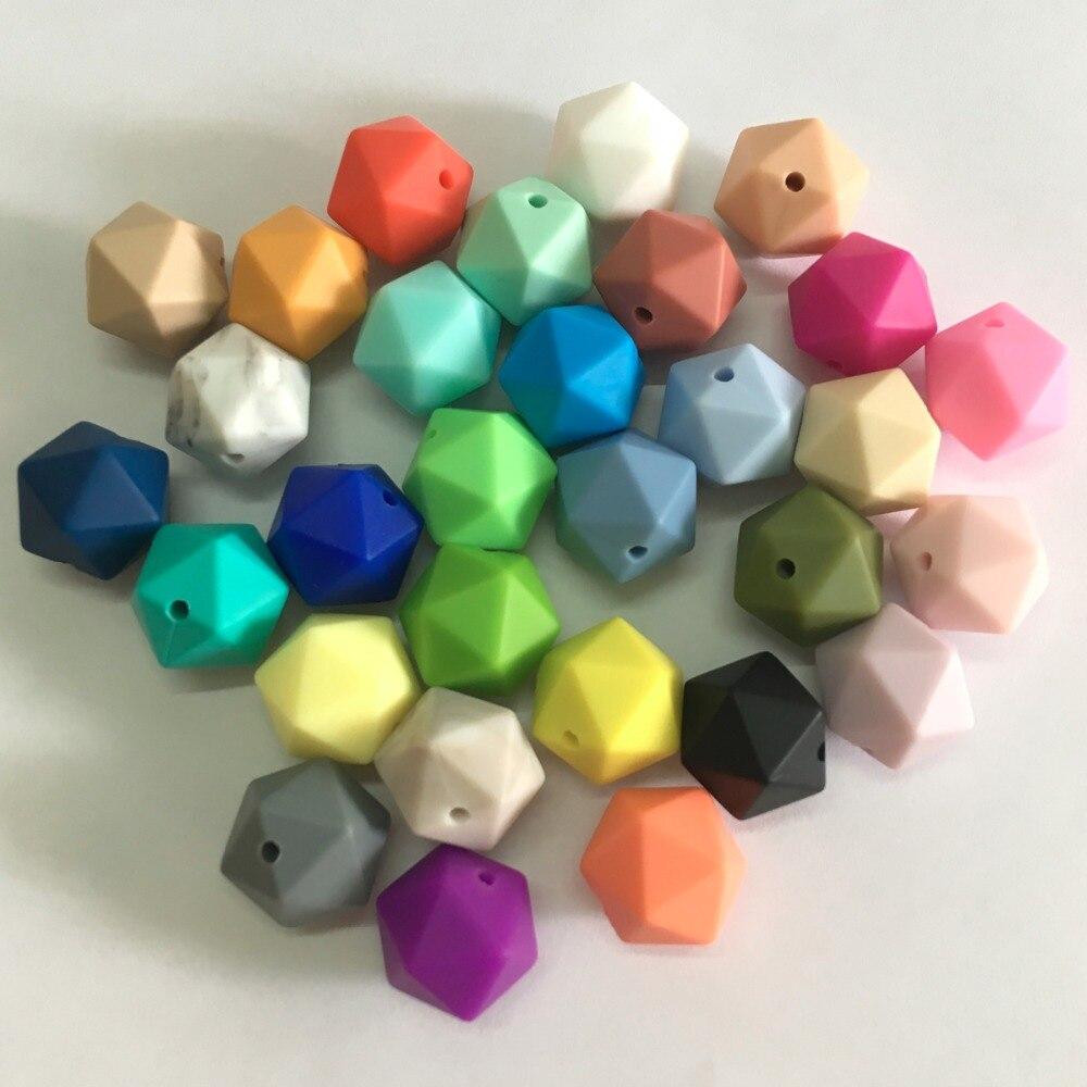 5 unids/lote Icosaedro Silicona Granos Flojos de 19.5mm Libre de BPA Silicona de Grado Alimenticio 100% Icosaedro Beads Dentición Del Bebé Chew Granos