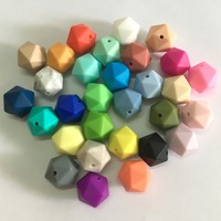 5pcs/lot 19.5mm Icosahedron Silicone Loose Beads BPA Free 100% Food Grade Silicone Icosahedron Beads Teething Baby Chew Beads