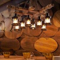 Ретро Лофт деревянной бочке Подвесной Светильник Склад ресторан столовая винный погреб проход коридор паб кафе люстра баррель свет