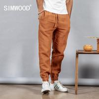 SIMWOOD 2019 spring 100% pure linen ankle length pants men cool elasticated waistband drawstring plus size trousers male 190095