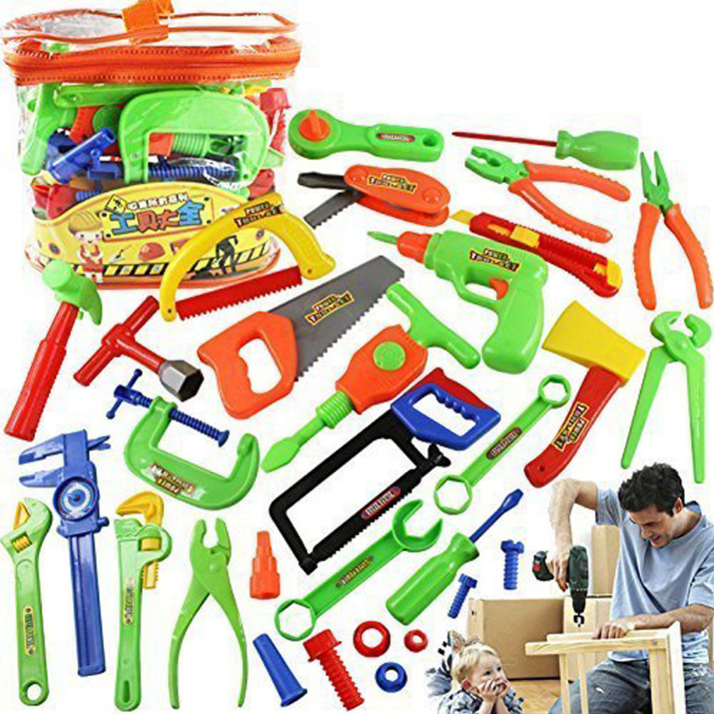 Baby Educational Toys Tool Kit Children Play House Classic Plastic Toy Kids Tools Hammer Toolbox Simulation Tool Kit Toys 34pcs