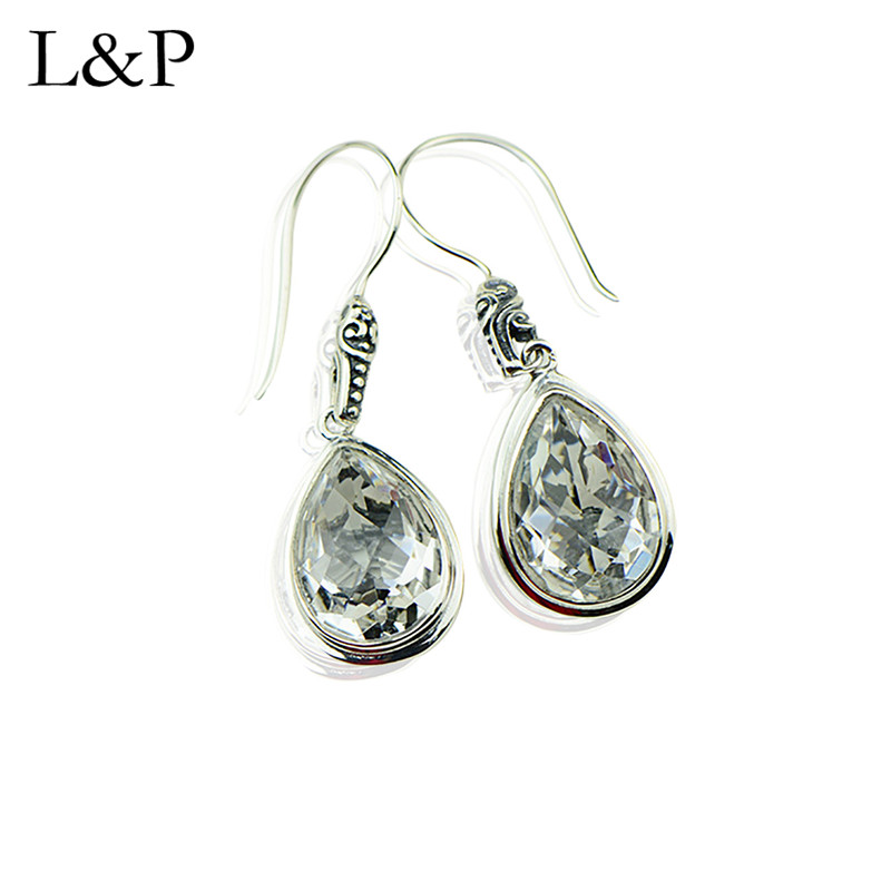 Retro Hollow Real Silver Earrings For Lady Elegant Waterdrop Crystal Drop Earrings Fine Jewelry Engagement Christmas