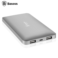 Baseus 10000mAh Powerbank Dual USB Portable 18650 Mobile Phone Charger For IPhone 6s 5s Xiaomi Mi5