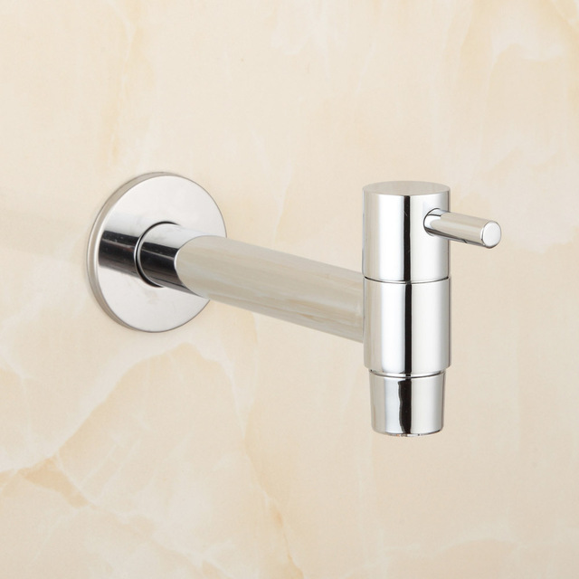 Kitchen Wall Faucets Delta Single Handle Faucet Installation Extra Long Polished Chrome Laundry Bathroom Wetroom Mounted Sink Tap Spigot Bibcocks