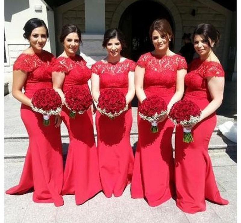 Plus Size Lace Bodice Red Bridesmaid Dresses Long Mermaid Women Summer Dress Fast Delivery Vestido Madrinha Satin Party In From