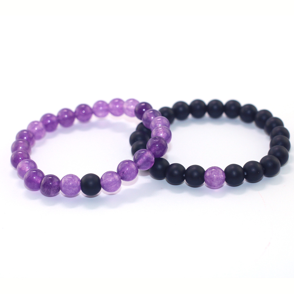 Natural Purple Crystal X Frosted Stone 8 mm Beads Unisex Bracelet Sets Boys Girls Women Men Jewelry Gift