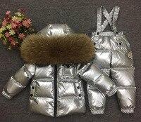 Детский Зимний пуховик для мальчиков и девочек, пальто и штаны, Серебряный лыжный костюм, 2 предмета, натуральный меховой воротник, одежда дл