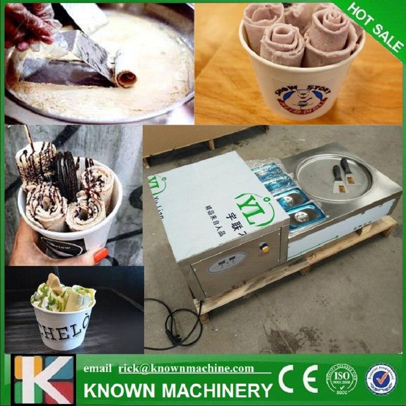 Le plus récent!!! 110/220 V R404A réfrigérant 35 cm Air-refroidissement frit crème glacée faire la machine avec 4 réservoirs de garniture (livraison gratuite par mer)