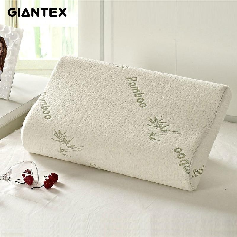 GIANTEX dormir de bambú de espuma de memoria Almohada ortopédica almohadas Oreiller Almohada Travesseiro Almohada Cervical almohadas Poduszkap