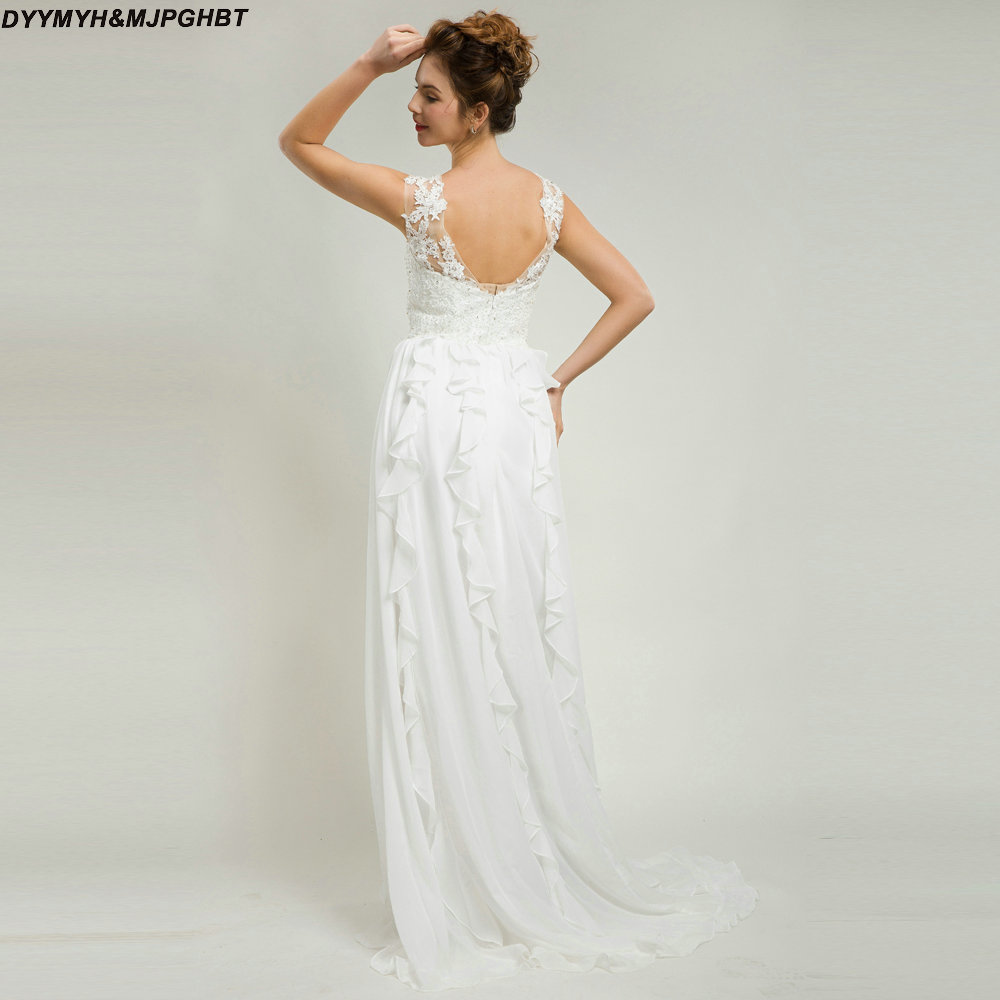 New Chiffon Wedding Dress Lace Top with Pearls and Crystal Ruffles ...