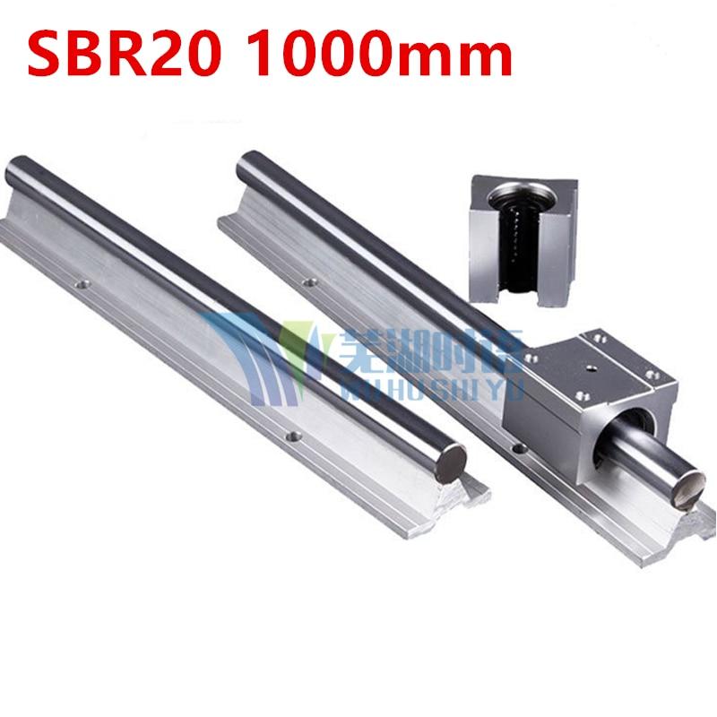 New 2 pcs SBR20 1000mm linear guide + 4pcs SBR20UU block for cnc parts цена