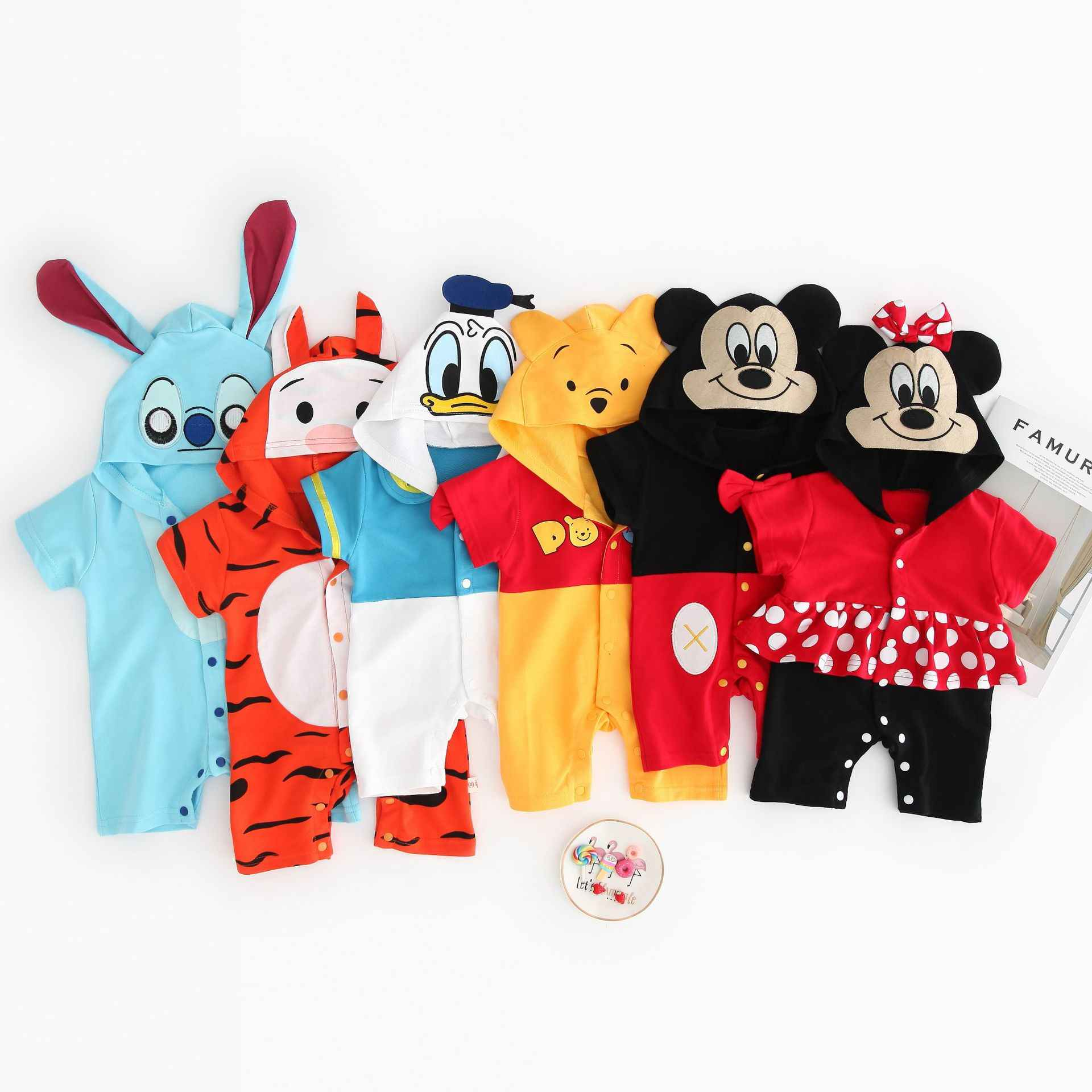 Baby Summer Clothes Jumpsuit Baby Romper Animal Tiger Mickey Minnie Costume Newborn Baby Girl Boy Clothes Hooded Clothing Outfit