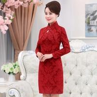 2017 Autumn Winter New Free Shipping Mom Dress Cheongsam Wedding Long Sleeve Medium Old Age Temperament Women Work Wear Slim