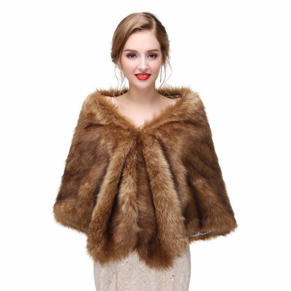 H&S BRIDAL 2017 Bridal Wraps Bolero Faux Fur For Wedding Evening Party Prom Jacket Coat Winter White Fur Shawl Wedding