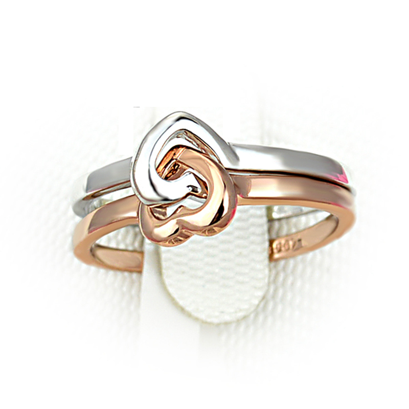 Wholesale Beiliwol Brand Girls Sale Rose Gold Color Double Heart Wedding Rings For Women Wedding Jewelry Forever Love