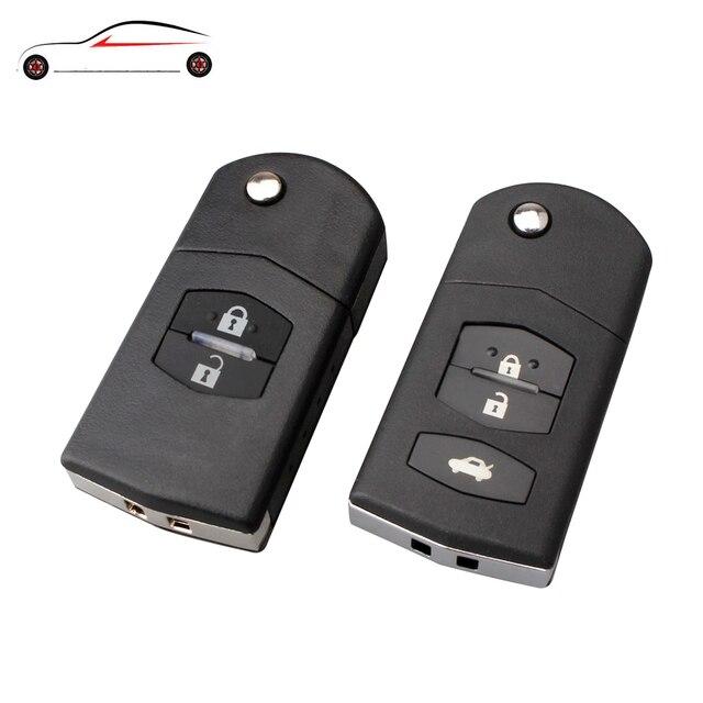 GORBIN 2 botones plegable remoto llave Fob carcasa para Mazda con hoja sin cortar para Mazda 3 5 6 teclas shell