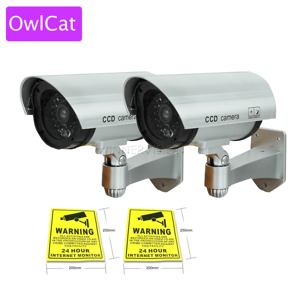 2 PC CCTV Security Bullet Camera Fake Camera Dummy Emulational Camera Waterproof Outdoor With Flash light n Warning Label wistino cctv camera metal housing outdoor use waterproof bullet casing for ip camera hot sale white color cover case