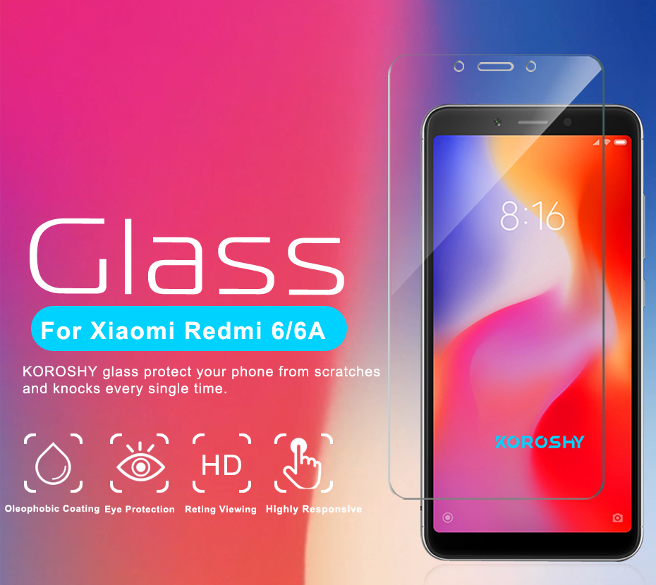 KOROSHY Real 2.5D 9H Tempered Glass for Xiaomi Redmi 6 Xiomi Redmi 6A Screen Protector 0.3mm Protective Toughened Glass Film (4)