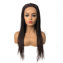 StrongBeauty Braided Box Braids Hair Synthetic Lace Front Wigs Long Black/Dark brown African American Wigs